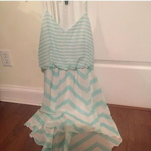 Aqua and white dress